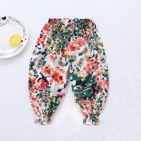 Pretty Floral Elastic Design Pants for Girl