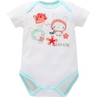 Cute Rabbit Print Short-sleeve Bodysuit in White for Baby Girl