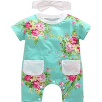Sweet Floral Short-sleeve Jumpsuit and Headband Set for Baby Girl
