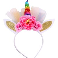 Baby Girl's Flower Decor Unicorn Birthday Party Hairband
