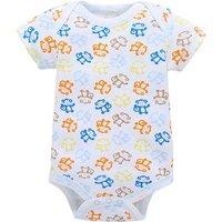 Cute Monkey Print Short-sleeve Bodysuit for Baby Boy