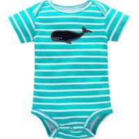 Baby's Comfy Whale Applique Striped Bodysuit