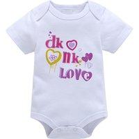 Lovely LOVE and Heart Print Short-sleeve Bodysuit in White for Baby Girl
