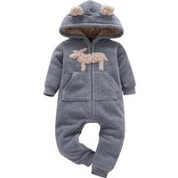 Winter Warm Sherpa Lined Hooded Jumpsuit for Baby