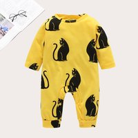 Stunning Allover Black Cat Long-sleeve Jumpsuit in Yellow for Baby