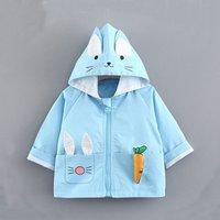 Lovely Rabbit Design Long-sleeve Hooded Coat for Baby Girl