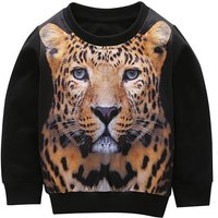 Cool Leopard Print Long-sleeve Pullover in Black for Toddler Boy