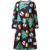 Chic Christmas Tree Print Long-sleeve Dress