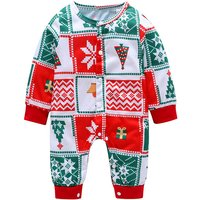 Stylish Christmas Tree Print Plaid Long-sleeve Jumpsuit for Baby