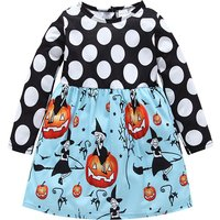 Stylish Dotted Halloween Pumpkin Long-sleeve Dress for Baby and Toddler Girl