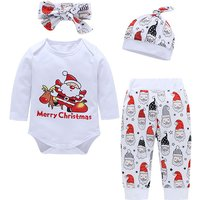4-piece Stylish Letter Print Bodysuit, Santa Patterned Pants, Hat and Headband Set for Baby