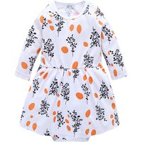 Fresh Dotted Tree Print Long-sleeve Bodysuit Dress for Baby Girl