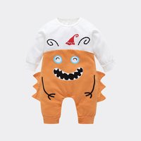 Adorable Laughing Serrate Design Long-sleeve Jumpsuit for Baby