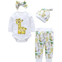 4-piece Cute Giraffe Print Bodysuit, Pants, Hat and Headband Set