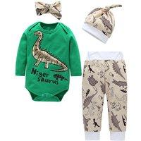 4-piece Stylish Dinosaur Print Bodysuit, Pants, Hat and Headband Set