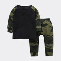Trendy Camouflage Long-sleeve Pullover and Pants Set for Baby