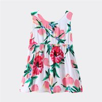 Toddler Girl and Girl Peach and Flower Pattern Dress