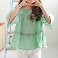 Trendy Solid Hollow Out Flare Sleeves Top for Girls