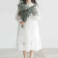 Trendy Long-sleeve Lace Dress in White for Girls