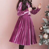 Elegant Long-sleeve Solid Velvet Pleated Dress for Girls