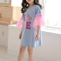 Stylish Letters Print Short Sleeve Princess Dress for Girls