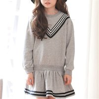 Pretty Navy Style Long-sleeve Dress for Toddler Girl and Girl