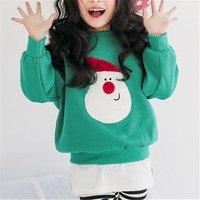 Adorable Santa Applique Long-sleeve Pullover for Girls