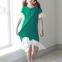 Casual Flare-sleeve Dress in Green
