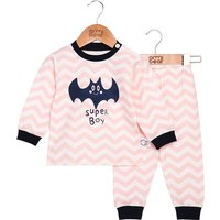 Fun Bat Print Striped Top and Pants Set for Baby