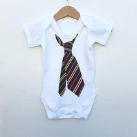 Handsome Tie Pattern Striped Short-sleeve Bodysuit for Baby Boy