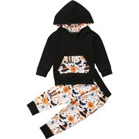 2-piece Cute Halloween Graphic Long-sleeve Hoodies and Pants Set for Baby