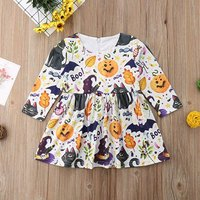 Fun Colorful Halloween Style Printed Long-sleeve Dress for Baby and Toddler Girl