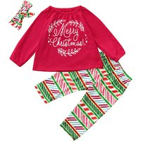 3-piece Casual Letter Print Long-sleeve Top, Floral Pants and Headband Set