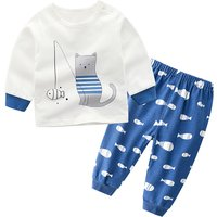 Adorable Cat and Fish Print Long-sleeve Top and Pants Set for Toddler Girl