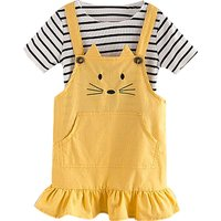 2-piece Stripes Short-sleeve Tee and Strap Dress