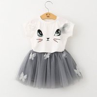 Lovely Cat T-shirt and Appliqued Butterfly Tulle Skirt Set for Baby and Toddler Girl