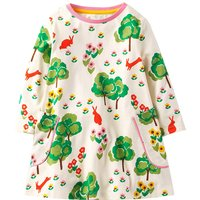Colorful Tree Print Contrasting Collar Dress for Toddler Girl and Girl