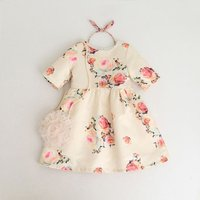 Pretty Floral Half-sleeve Dress for Girl ( bag and headband not included )