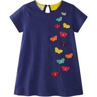 Adorable Short-sleeve Butterfly Appliqued Dress for Toddler Girl