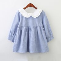 Sweet Doll Collar Long-sleeve Striped Dress for Toddler Girl