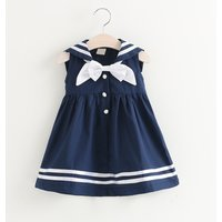 Stylish Naval Style Bow Decor Sleeveless Dress for Baby and Toddler Girl