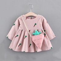 Cute Carrot Patterned Long-sleeve Dress with Bag for Baby Girl