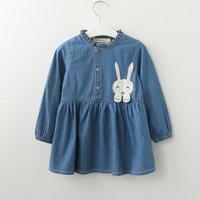 Cute Rabbit Embroider Long-sleeve Denim Dress for Toddler Girl and Girl