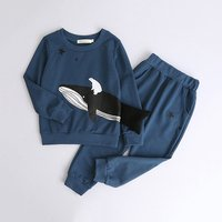 Casual Whale and Polar Bear Print Pullover and Pants Set for Boy