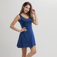 Solid Casual Sleeveless Dress for Women