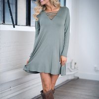 Sexy Solid Lace-up Long Sleeve Dress for Women