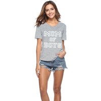 Comfy MOM Print V-neck Short-sleeve T-shirt in Grey for Women