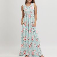 Pretty Floral Sleeveless Dress in Green for Women