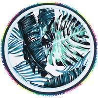 Stylish Leaf Print Tassel Decor Beach Yoga Mat