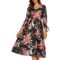 Pretty Floral V Neck Midi Dress